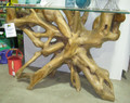 Teak root and glass side table.