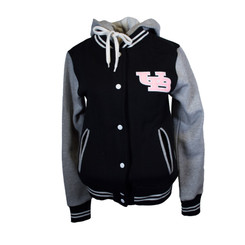 Great college style jacket with contrast sleeves Light weight fleece fabric great for spring Weight 320 gsm in 65 cotton and 35 polyester Slim fit. Black, white and pink with Interlocking UB super cute!