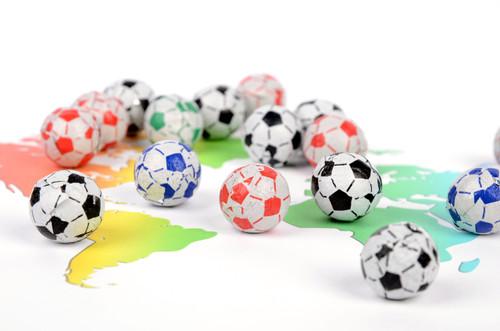 Chocolate Footballs - Multi-coloured Foils