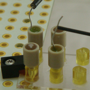 Electrode wire in use in microfluidic  experiment.