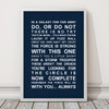 Star Wars Movie Quotes Print in Navy, with optional Australian-made white timber frame