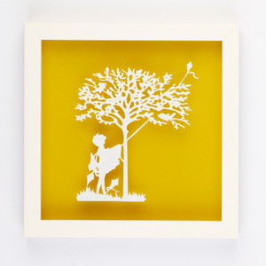Entangled Kite Vintage Kids Paper art frame in Yellow