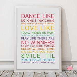 Family Wishes print with optional Australian-made white timber frame in Rainbow