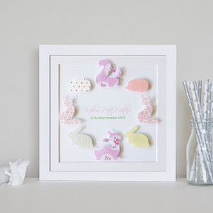 "Personalised 9"" x 9"" Woodlands Paper Art Frame - Circle Design in Rose Garden Colour Scheme"