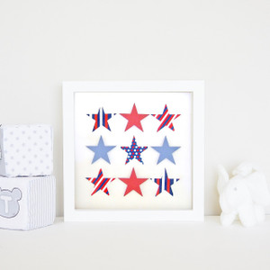 Small Shooting Stars Frame in Red, White and Blue