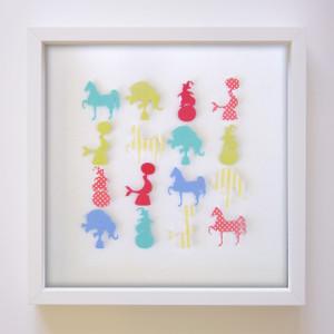 """Circus Stars Paper Art Frame - 14"""" x 14"""" Grid in Circus Colour Scheme"""