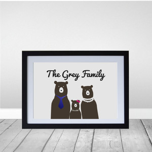 Personalised Bear Family Wall art print in optional black timber deep rebate frame