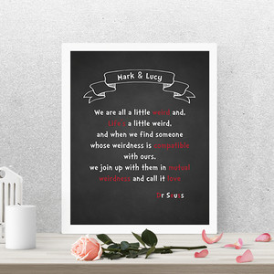 Dr Seuss - Personalised Love Print in optional frame