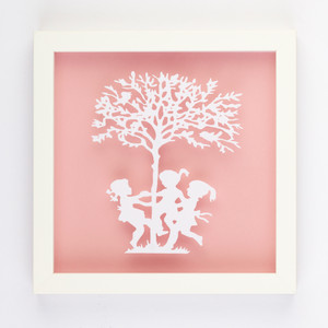 Ring a Rosie Vintage Kids Paper Art Frame in Pink