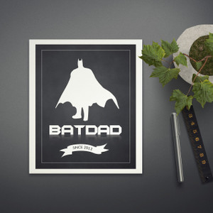 Personalised Bat Dad Print in Black