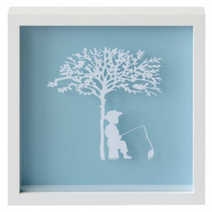 Fishing Vintage Kids Paper Art Frame in Blue