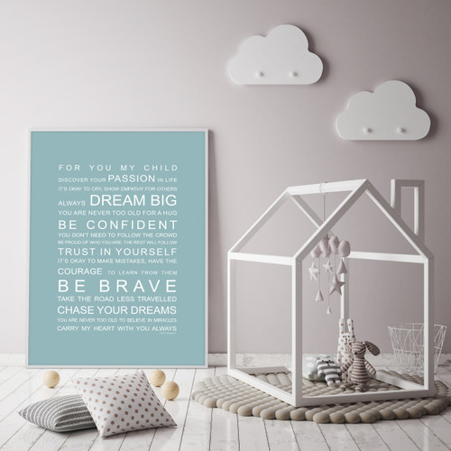 For You My Child print in Duck Egg, with optional Australian-made white timber frame