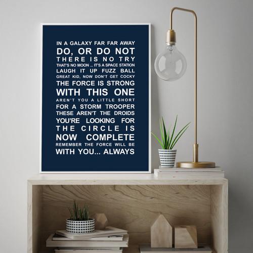 Star Wars movie quotes wall art print