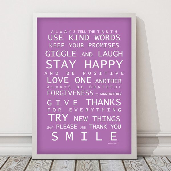 Family Rules print in Purple, with optional deep rebate white timber frame.