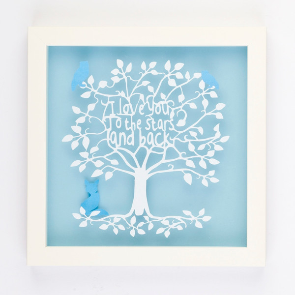 I love you to the stars and back word tree Typography Paper Cut