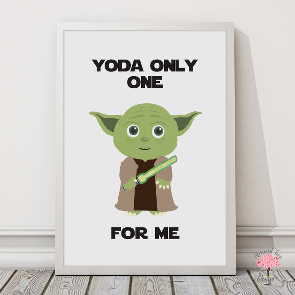 Star Wars Yoda Print with optional Australian-made white timber frame