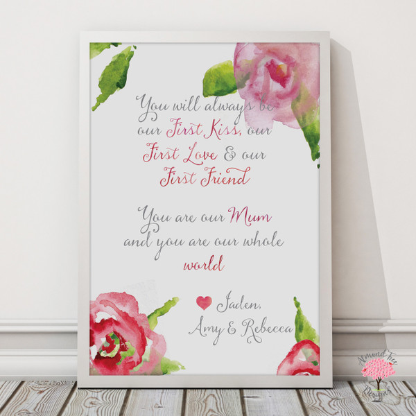 Mum You are Our World Print in White, with optional Australian-made white timber frame