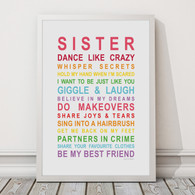 Sister Print in Rainbow, with optional Australian-made white timber frame