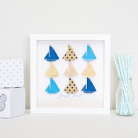 Small Sailing Sensation grid in Blue/Latte