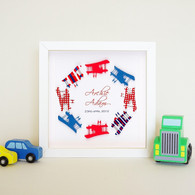 Small Aeroplane Circle Frame in Red, White and Blue