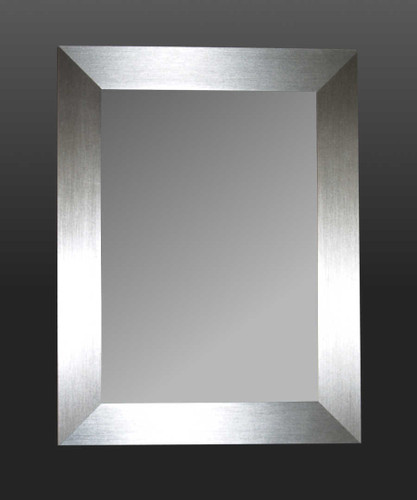 METALLIC SILVER FRAMED MIRROR
