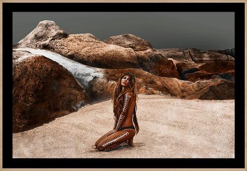 Girl in Nature in the Rocks | Designer Framed Print | Print Decor, Melbourne