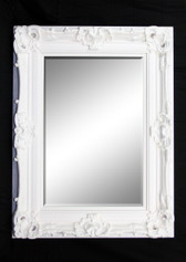 Print Décor - Grand Ornate White Beveled Mirror
