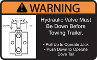 Label, Warning Hydraulic Valve Dove