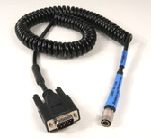 50085m - Topcon/Satel Robotic Cable Radio to Instrument on coiled cord.   Radio to 800,8000,810,8200 Robotson - 6 ft.