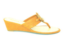 The Dana2 - cute thong wedge sandals come in tan with a gold medal medallion. This is great basic for your summer wardrobe!