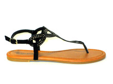 Black flat thong sandal, perfect for every day casual wear.