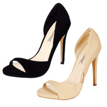 *FEATURED* Mira Black or Nude Stiletto Open Toe Pump