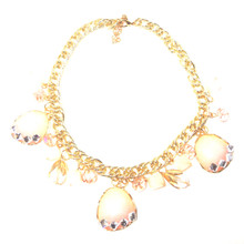 Bella Gold Chain Necklace with Light Pink Charms