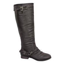 Jackie Black Knee High Riding Boots with Blue Zipper