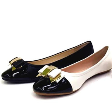 bamboo ballet flats black and white with bow and gold accent