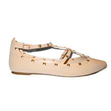*FEATURED* Studs Nude Ballet Flat with Adjustable Strap