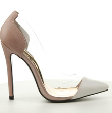 Clear Transparent Two Tone White & Light Pink High Heel Pump