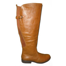 Wide Calf Chestnut Boots with Side Zipper & Buckle