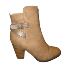 High Heel Beige Ankle High Booties