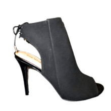 Open Toe High Heel Black Slingback Bootie