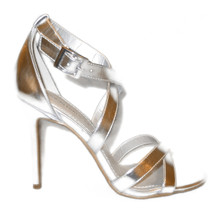 Silver High Heel Sandals with Criss Cross Straps