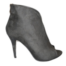 Black High Heel Bootie Open Toe with Back Zipper