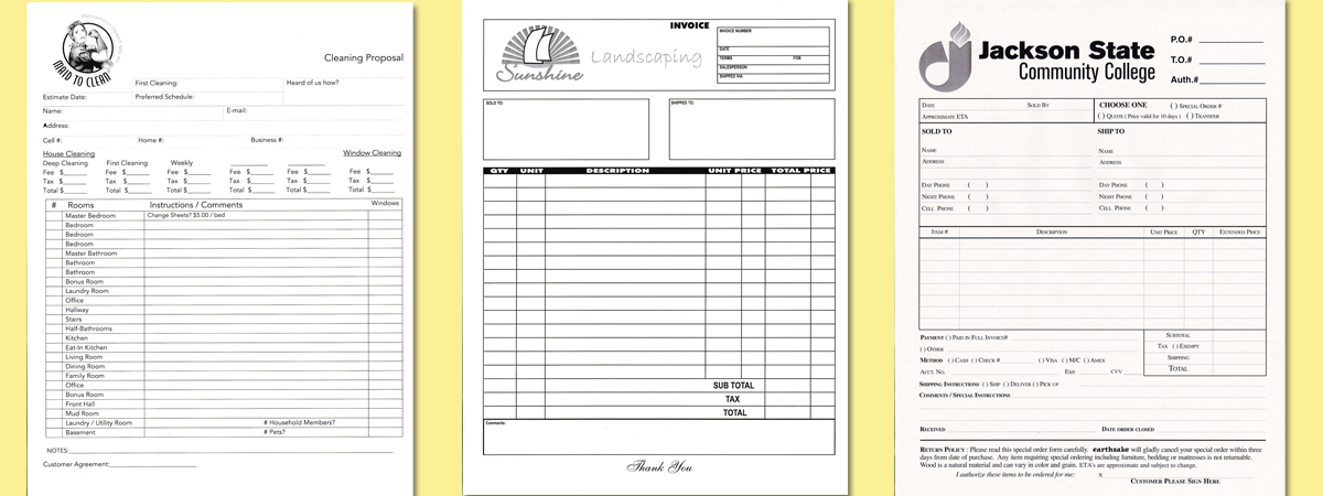 carbonless invoices, business forms printing, custom ncr forms, cheap carbonless forms, cheap ncr printing,