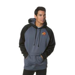 Z Logo Poly Raglan Pullover Hoodie: Black/Charcoal