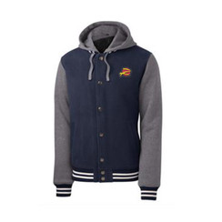 Z Logo Insulated Letterman Jacket: Navy/Heather