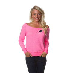 Z Logo Women's Off the Shoulder French Terry Crew: Pink