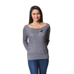 Z Logo Women's Off the Shoulder French Terry Crew: Black Heather