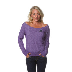 Z Logo Women's Off the Shoulder French Terry Crew: Purple