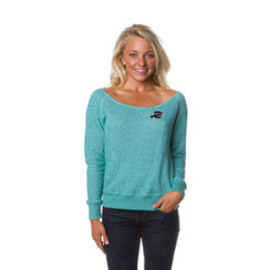 Z Logo Women's Off the Shoulder French Terry Crew: Teal