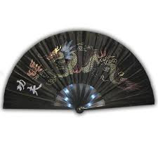 Dragon Chinese Fan - Black